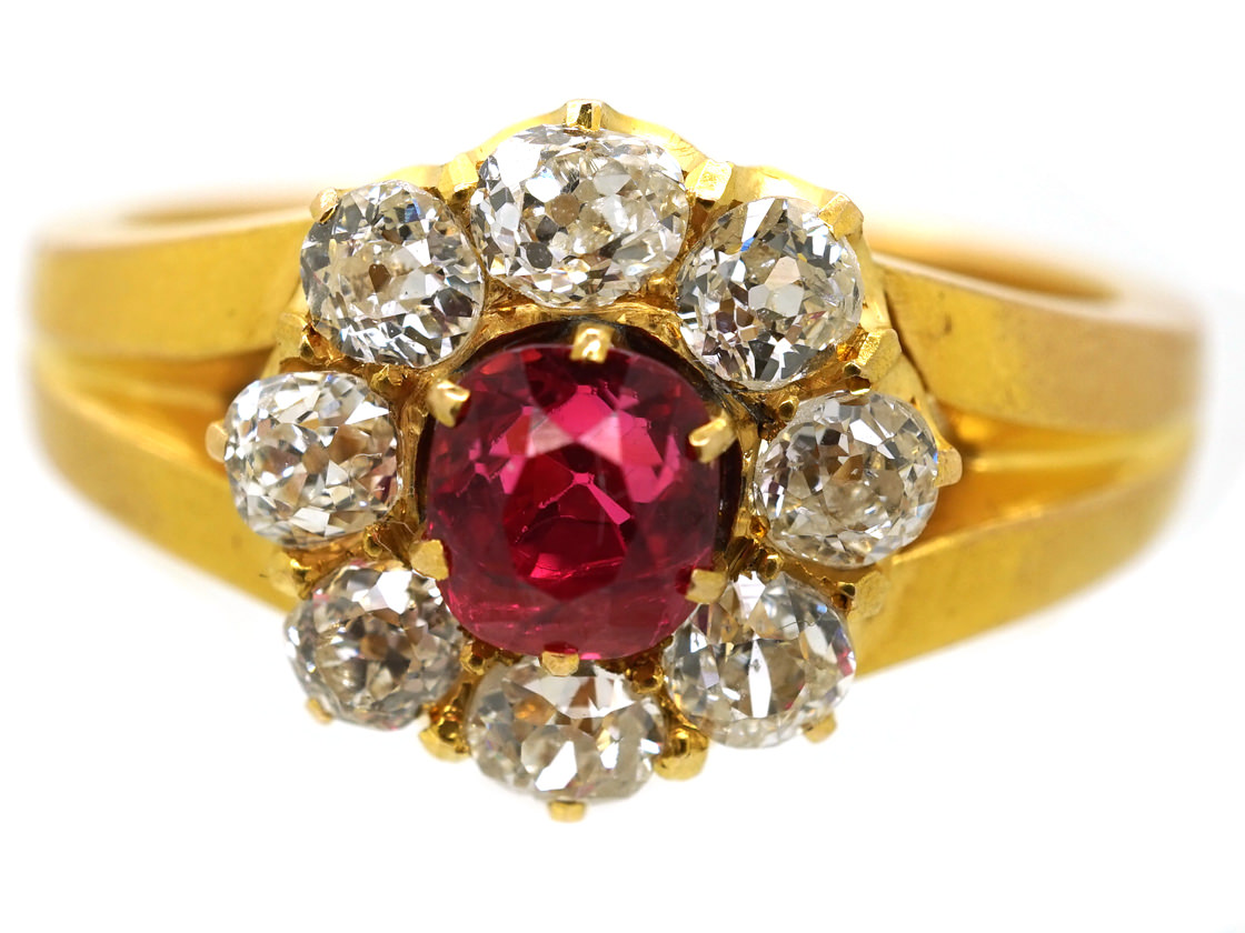 Victorian 18ct Gold, Diamond and Pink Spinel Cluster Ring