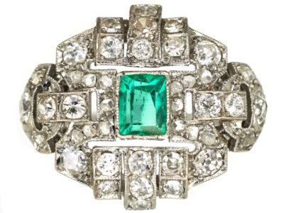 Art Deco French, Platinum, Emerald & Diamond Ring