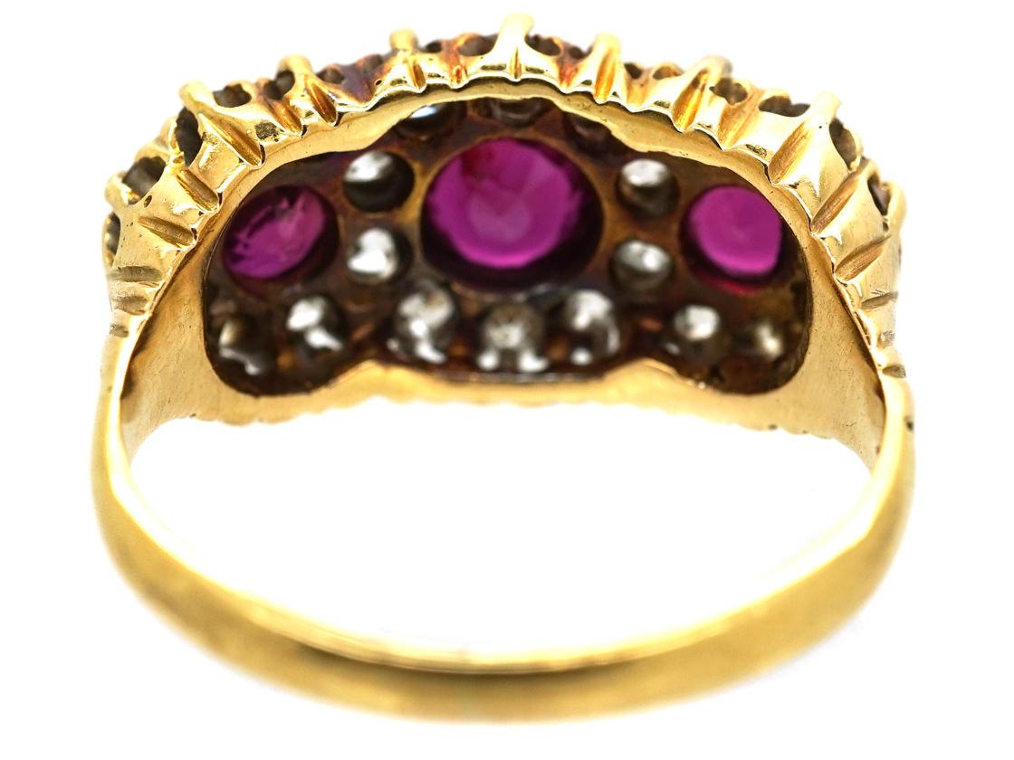 Edwardian 18ct Gold, Ruby & Diamond Triple Cluster Ring