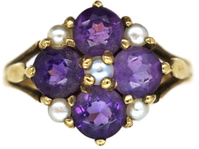 9ct Gold, Amethyst & Natural Split  Pearl Ring