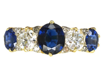 Victorian 18ct Gold, Sapphire & Diamond Carved Half Hoop Five Stone Ring