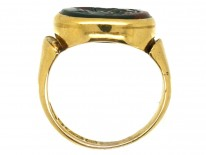 Victorian 9ct Gold Signet Ring With a Bloodstone Intaglio of Hermes