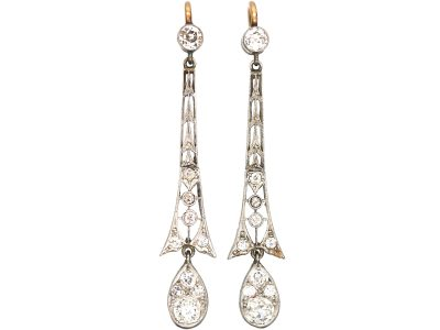 Art Deco 15ct Gold, Platinum & Diamond Drop Earrings