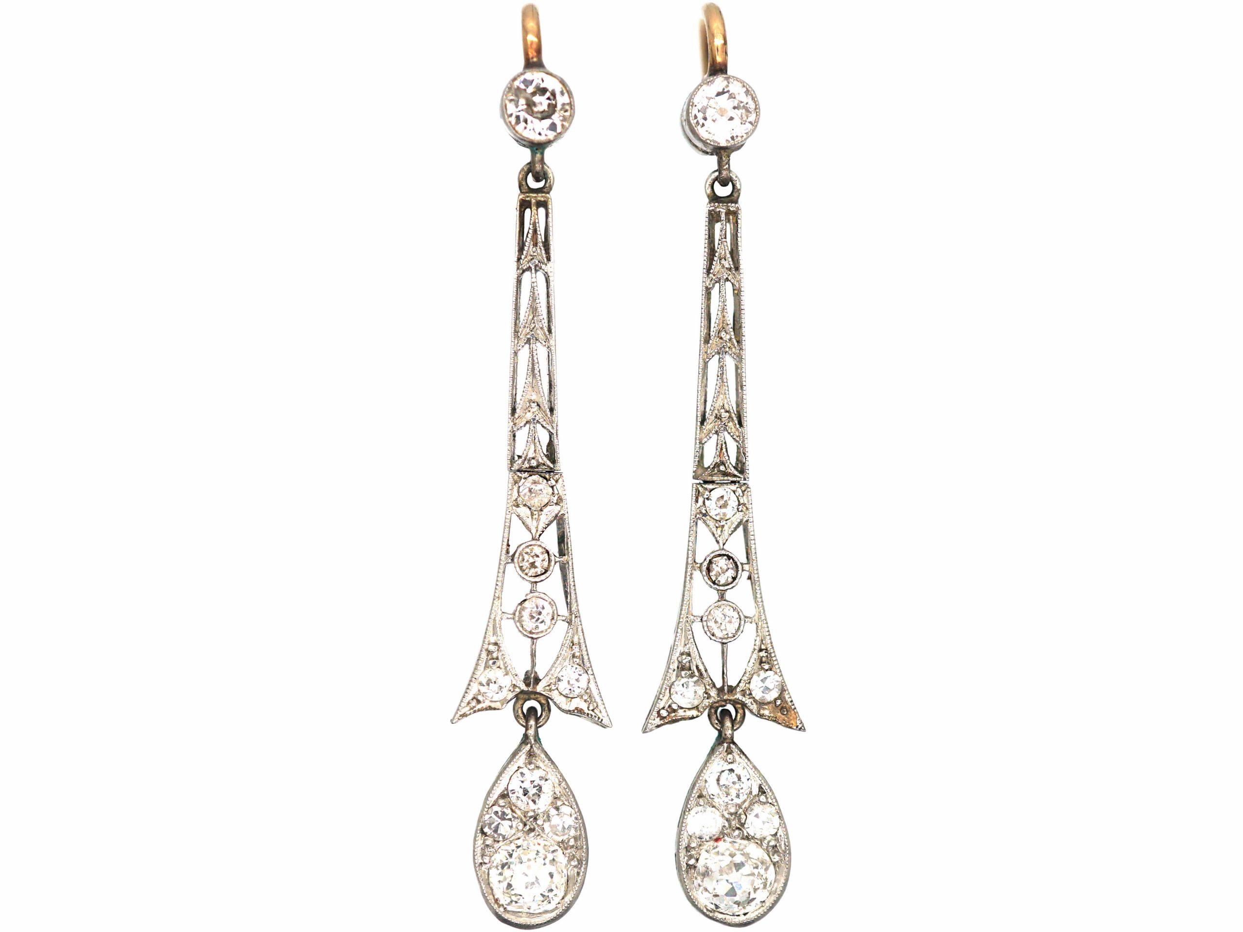 Art Deco 15ct Gold, Platinum & Diamond Drop Earrings