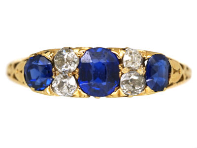 Edwardian 18ct Gold, Sapphire & Diamond Carved Half Hoop Ring