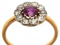 Edwardian 18ct Gold, Platinum, Ruby & Diamond Cluster Ring