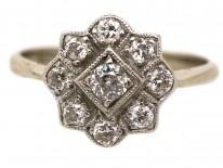 Art Deco 18ct Gold, Platinum, Diamond Cluster Ring