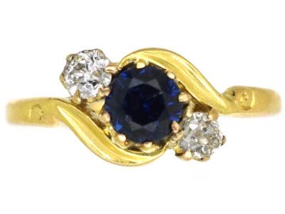 Edwardian 18ct Gold, Platinum, Sapphire & Diamond Twist Ring