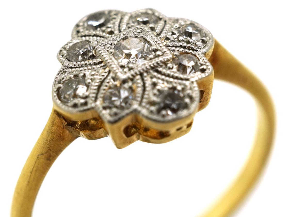 Art Deco 18ct Gold, Platinum, & Diamond Ring