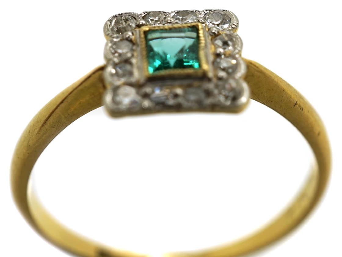 Art Deco 18ct Gold, Platinum, Emerald & Diamond Square Ring