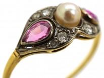 Edwardian 18ct Gold, Platinum, Pink Sapphire & Diamond Ring
