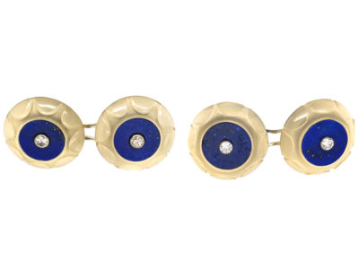 French Art Deco 18ct White Gold, Lapis & Rock Crystal Cufflinks