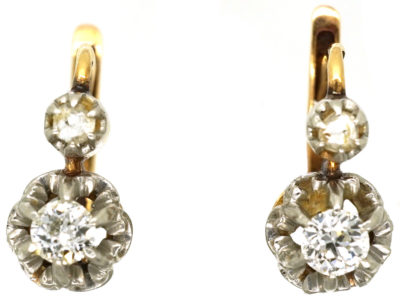 French 18ct Gold & Diamond Earrings