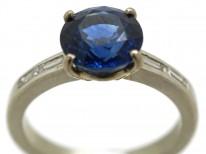 18ct White Gold Two Carat Sapphire & Diamond Ring