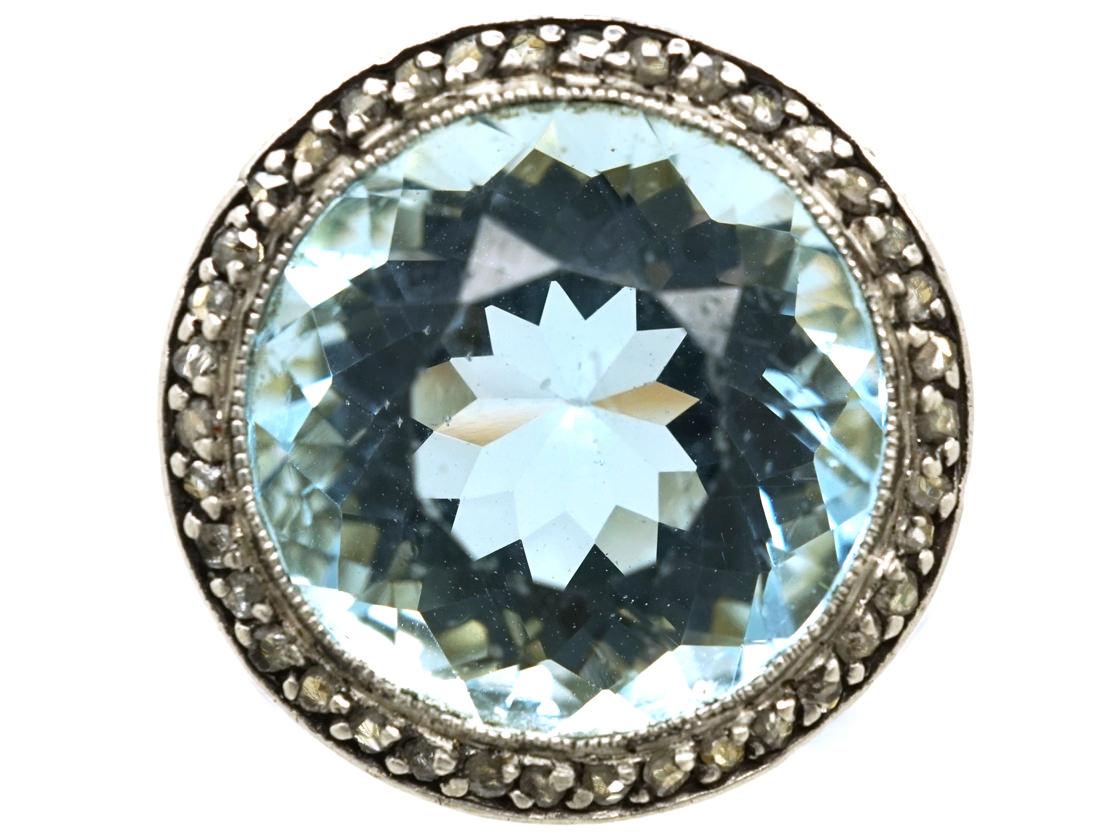 18ct Gold & Platinum, Large Aquamarine & Rose Diamond Ring