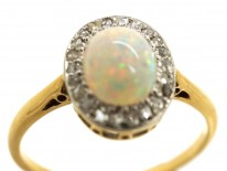 Edwardian 18ct Gold Opal & Rose Diamond Oval Cluster Ring