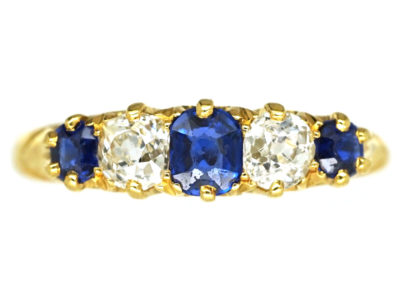 Victorian 18ct Gold Sapphire & Diamond Five Stone Carved Half Hoop Ring