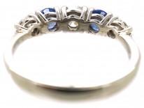 18ct White Gold, Sapphire & Diamond Five Stone Ring