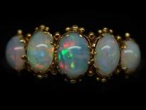 Regency 15ct Gold & Opal Five Stone Ring