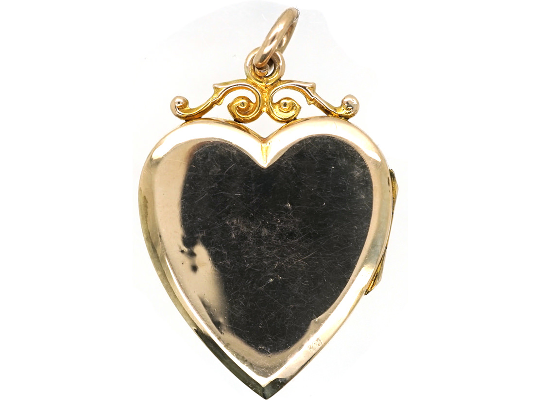 Edwardian 9ct Back & Front & Split Pearls Heart Locket with Lily of the Valley Motif
