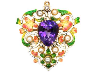 Victorian Jubilee Enamel Brooch / Pendant Set with Diamond, Amethyst & Natural Pearls