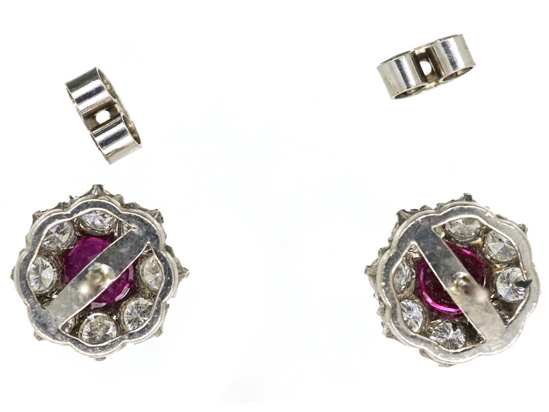 18ct White Gold Ruby & Diamond Cluster Earrings