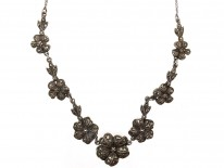 Silver & Marcasite Flowers Necklace