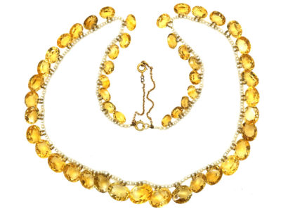 Edwardian Citrine & Natural Pearls Necklace