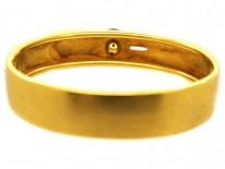 Victorian 18ct Gold Buckle Design Bangle Set With a Cabochon Garnet