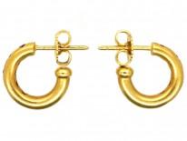 18ct Gold & Ruby Hoop Earrings