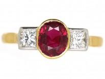 18ct Gold, Diamond & Ruby Three Stone Ring