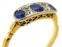 Art Deco 18ct Gold, Platinum & Three Stone Sapphire & Diamond Ring