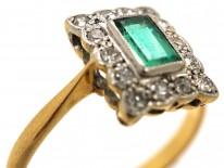 Art Deco 18ct Gold, Platinum & Emerald & Diamond Rectangular Ring