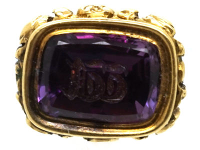 Georgian Tiny 15ct Gold Seal with Amethyst Base with Monogram