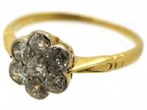 Edwardian 18ct Gold & Platinum, Diamond Cluster Ring