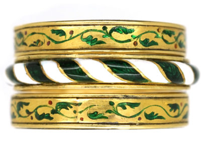 Victorian Triple Set of 18ct Gold & Enamel Rings