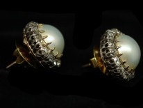 Edwardian Large 18ct Gold Pearl & Diamond Cluster Earrings