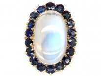 18ct Gold Large Moonstone & Sapphire Ring