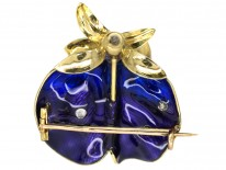 French 19th Century 18ct Gold & Enamel Sweet Pea Brooch in Original Case