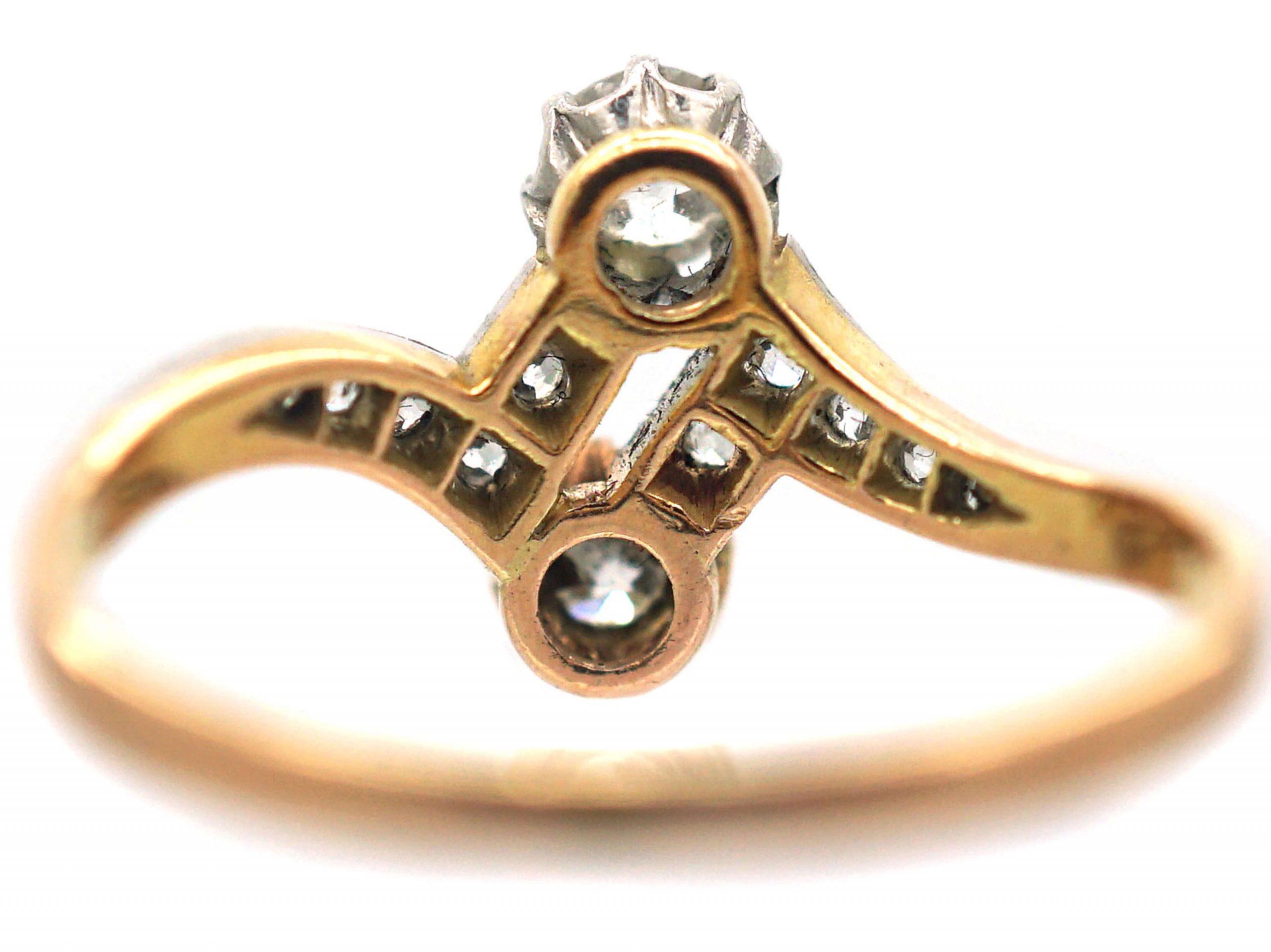 Edwardian 18ct Gold & Platinum, Two Stone Diamond Zig Zag Crossover Ring