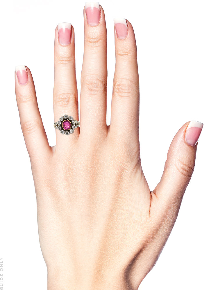 18ct Gold, Ruby & Diamond Cluster Ring with Diamond Shoulders
