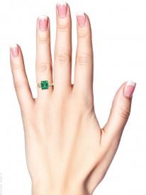 18ct Gold Rectangular Emerald & Diamond Three Stone Ring
