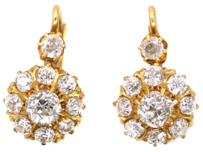 French 18ct Gold & Diamond Cluster Earrings in Original Case