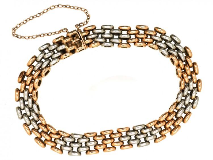 Edwardian 15ct Gold & Platinum Gate Bracelet