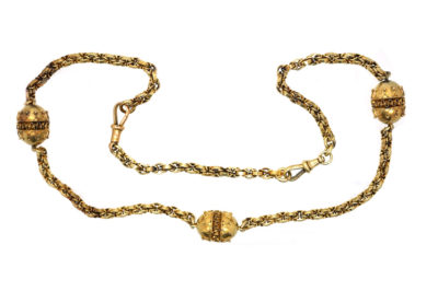 Victorian 15ct Gold Chain With Three Etruscan Design Beads