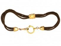 Victorian Hair & Gold Albert Chain with Heart Motif