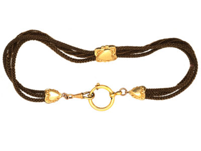 Victorian Hair & Gold Albert Chain with Heart Motif