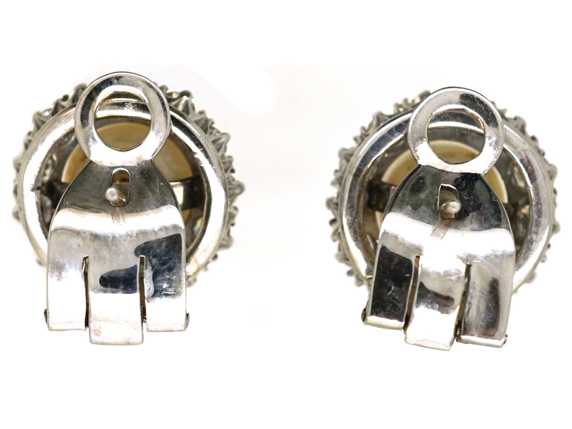18ct White Gold Diamond & Pearl Cluster Earrings with Post & Clip Fittings