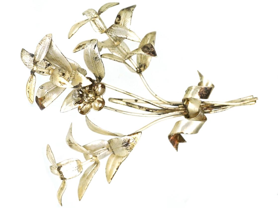 Victorian Silver Lilies Brooch
