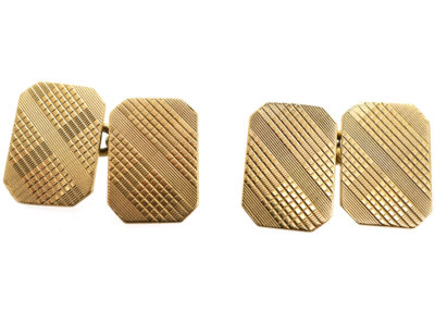1930s 9ct Gold Tartan Pattern Cufflinks